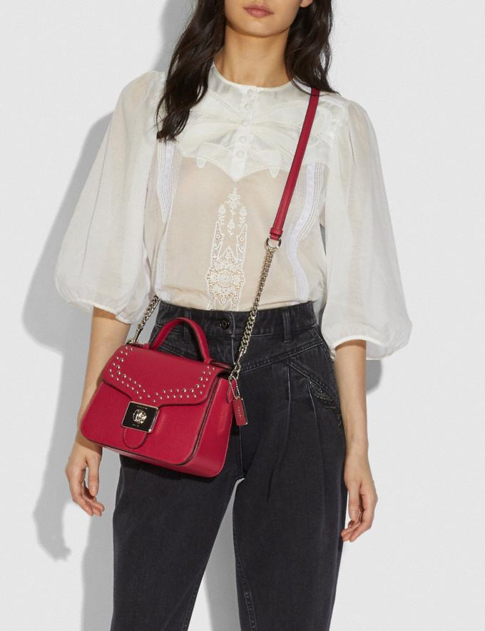 Coach Cassidy Top Handle Crossbody With Rivets Sv/Bright Cardinal Explore Bags Bags Crossbody Bags Alternate View 2