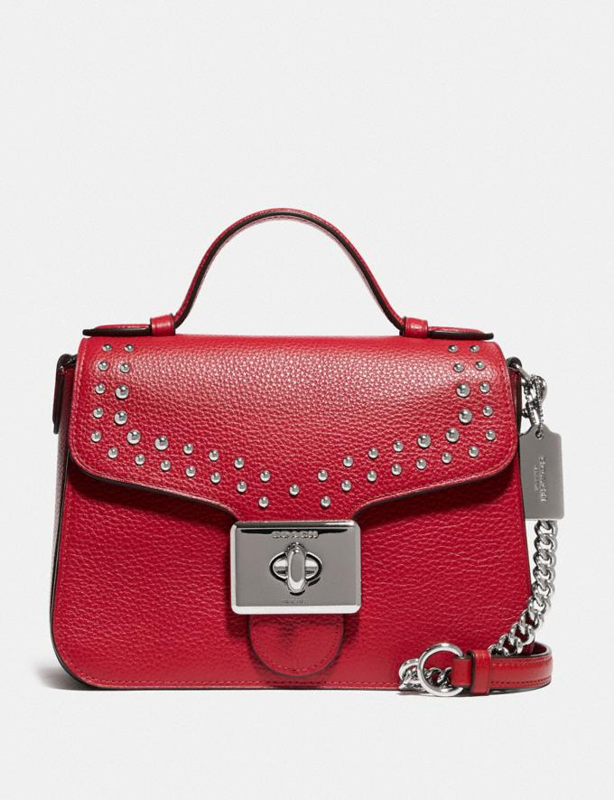 Coach Cassidy Top Handle Crossbody With Rivets Sv/Bright Cardinal Explore Bags Bags Crossbody Bags