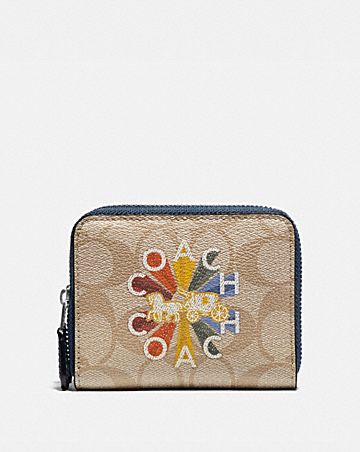 SMALL DOUBLE ZIP AROUND WALLET IN SIGNATURE CANVAS WITH COACH RADIAL RAINBOW