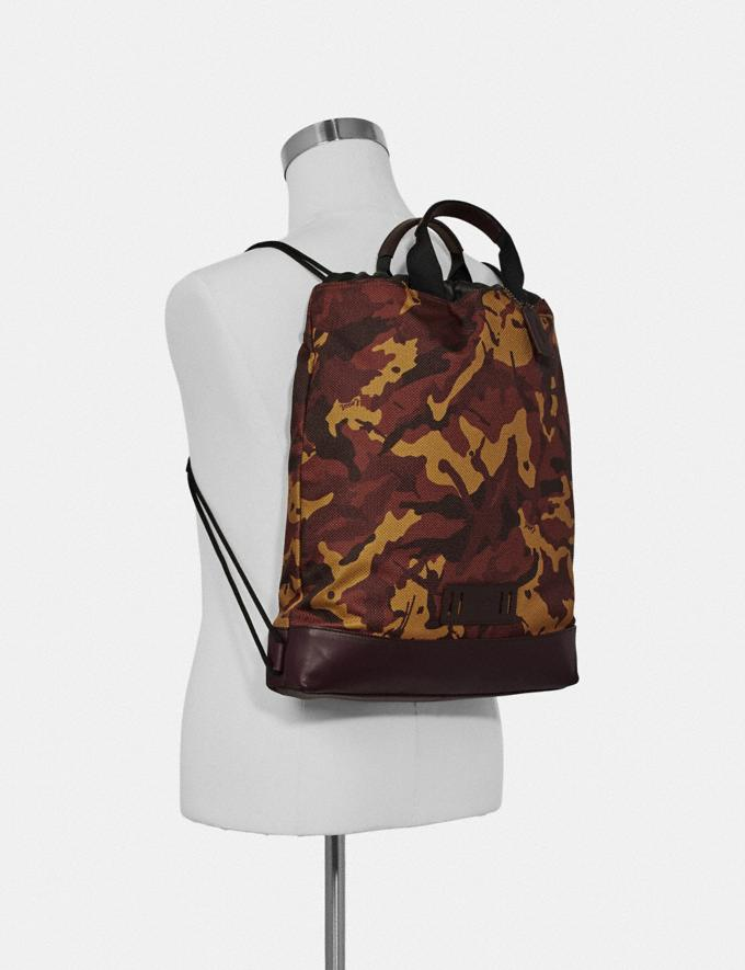 Coach Terrain Drawstring Backpack With Camo Print Rust/Black Antique Nickel  Alternate View 2