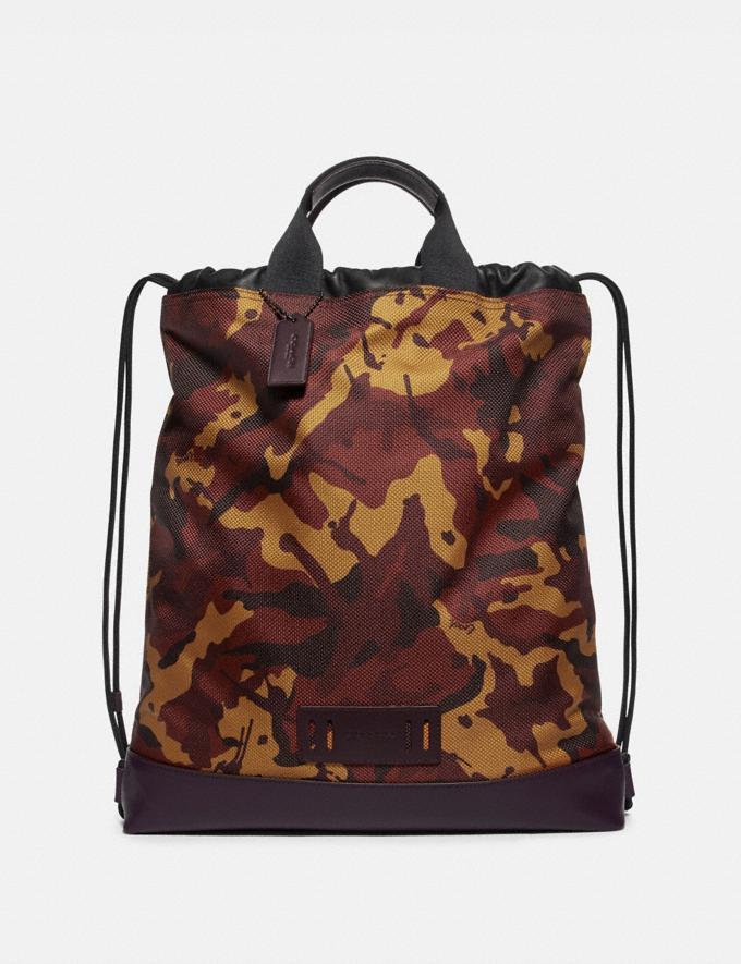 Coach Terrain Drawstring Backpack With Camo Print Rust/Black Antique Nickel
