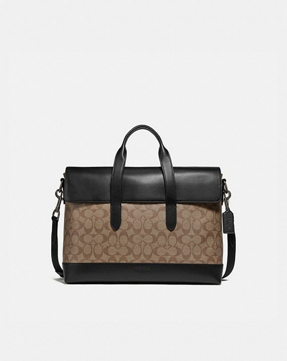 Coach HAMILTON PORTFOLIO BRIEF IN SIGNATURE CANVAS