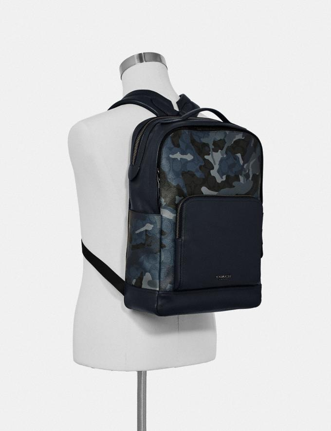 Coach Graham Backpack in Signature Canvas With Camo Print Blue Multi/Black Antique Nickel Men Bags Alternate View 2