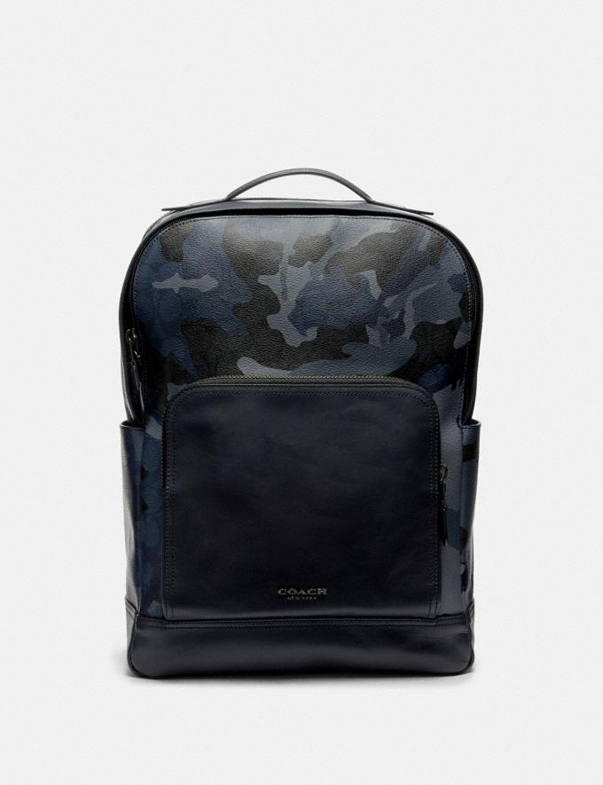 Coach Graham Backpack in Signature Canvas With Camo Print Blue Multi/Black Antique Nickel Men Bags