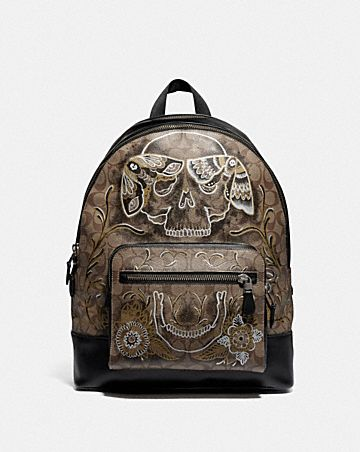 west backpack in signature canvas with chelsea animation