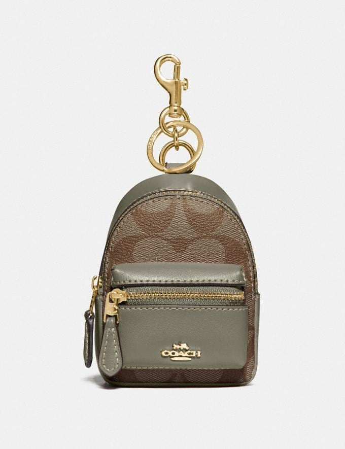 Coach Backpack Coin Case in Signature Canvas Khaki/Military Green/Gold Explore Women Explore Women Bag Charms & Accessories