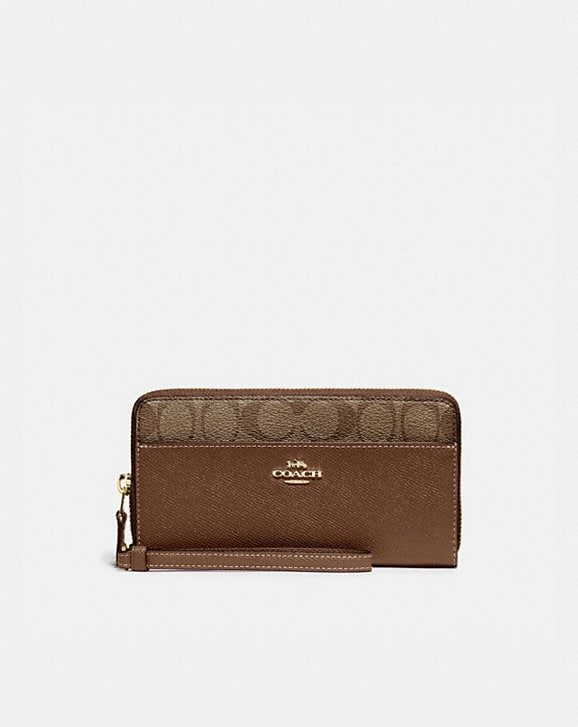 Coach ACCORDION ZIP WALLET WITH SIGNATURE CANVAS DETAIL