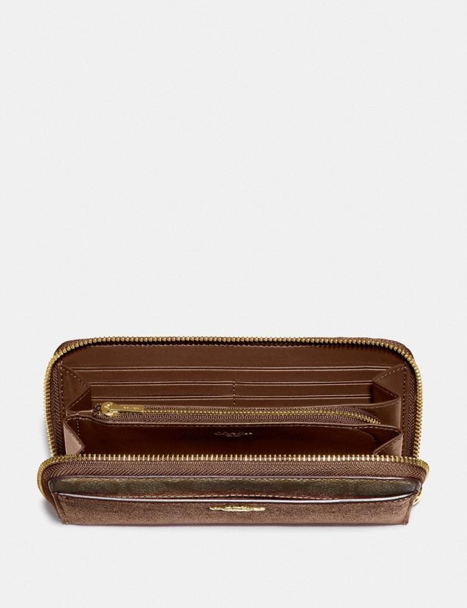Coach Accordion Zip Wallet With Signature Canvas Detail Khaki/Saddle 2/Gold Explore Women Explore Women Wallets Alternate View 1