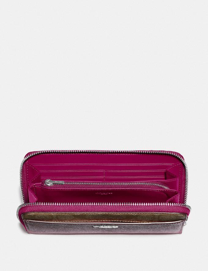 Coach Accordion Zip Wallet With Signature Canvas Detail Sv/Khaki Dark Fuchsia  Alternate View 1