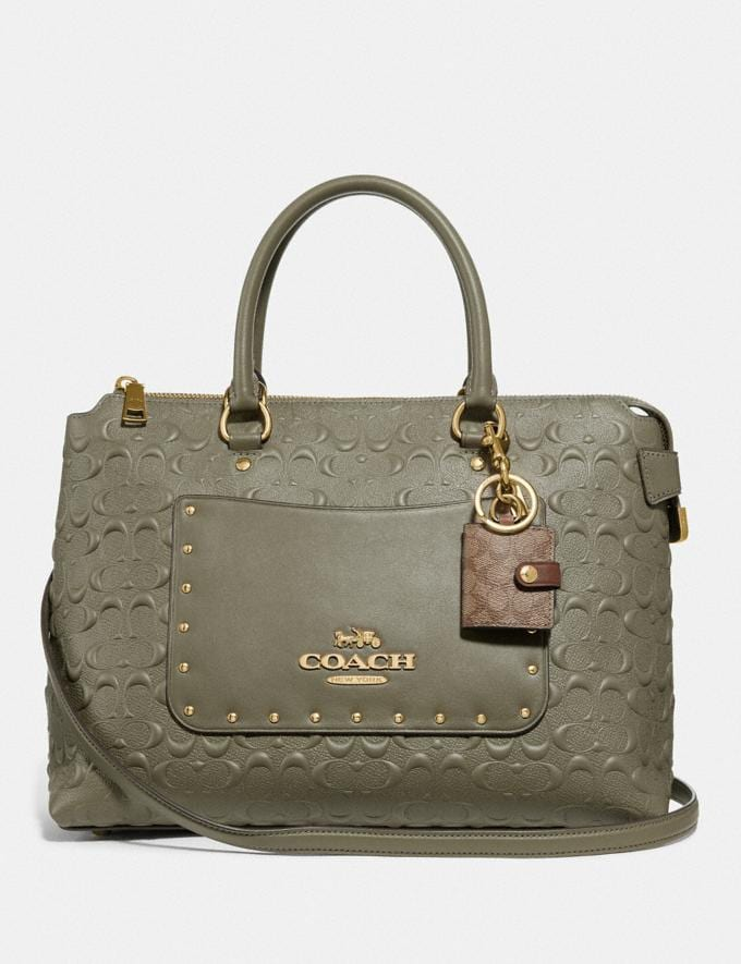 Coach Picture Frame Bag Charm in Signature Canvas Khaki/Gold  Alternate View 1