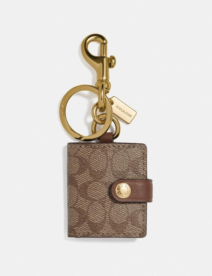 Coach Picture Frame Bag Charm in Signature Canvas Khaki/Gold