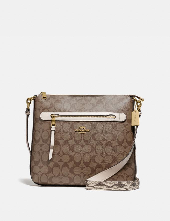 Coach Mae File Crossbody in Signature Canvas Khaki/Chalk Multi/Gold Explore Bags Bags Crossbody Bags