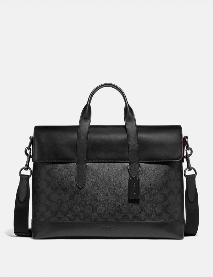 Coach Hamilton Portfolio Brief in Signature Canvas Black/Black/Oxblood/Black Copper Finish Men Bags