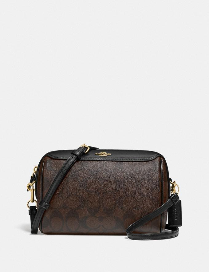 Coach Bennett Crossbody in Signature Canvas Brown/Black/Gold Members Only Members Only