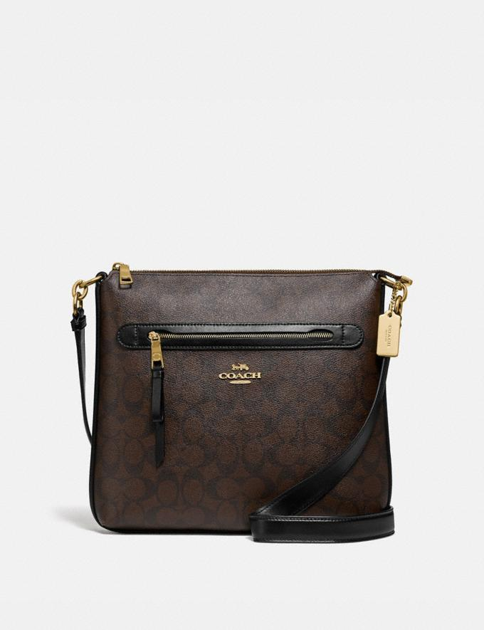 Coach Mae File Crossbody in Signature Canvas Brown/Black/Gold Explore Bags Bags Crossbody Bags