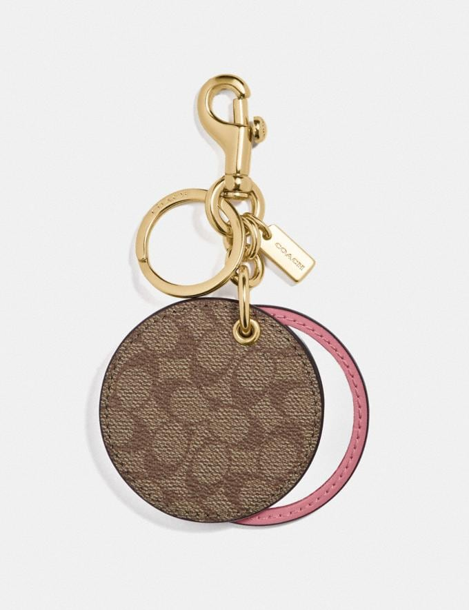 Coach Mirror Bag Charm in Signature Canvas Gd/Khaki Pink Deals Extras Under $30