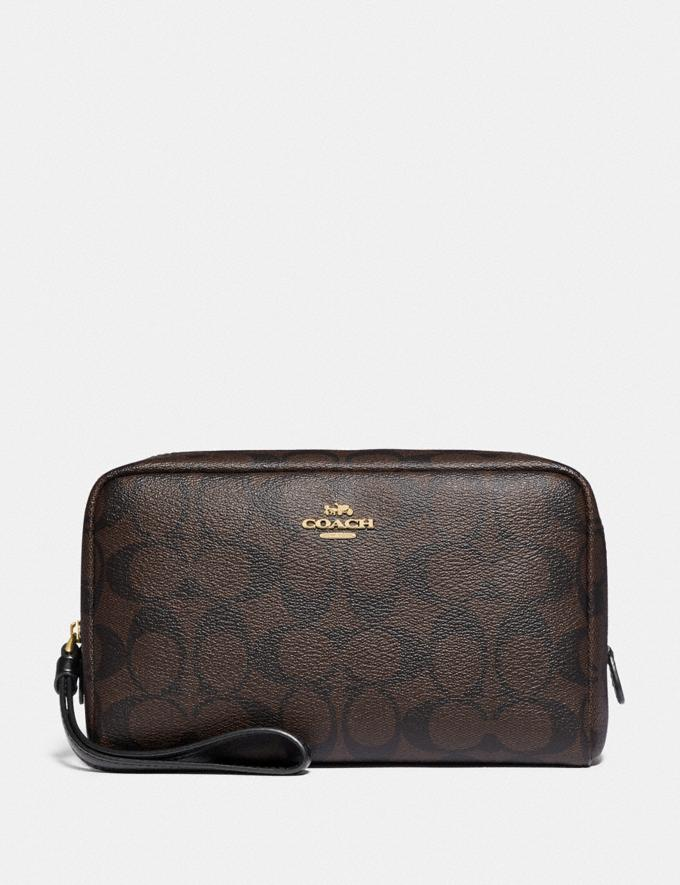 Coach Boxy Cosmetic Case in Signature Canvas Brown/Black/Gold