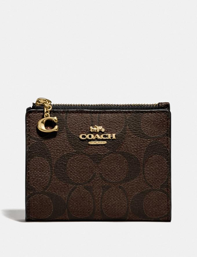 Coach Snap Card Case in Signature Canvas Brown/Black/Gold