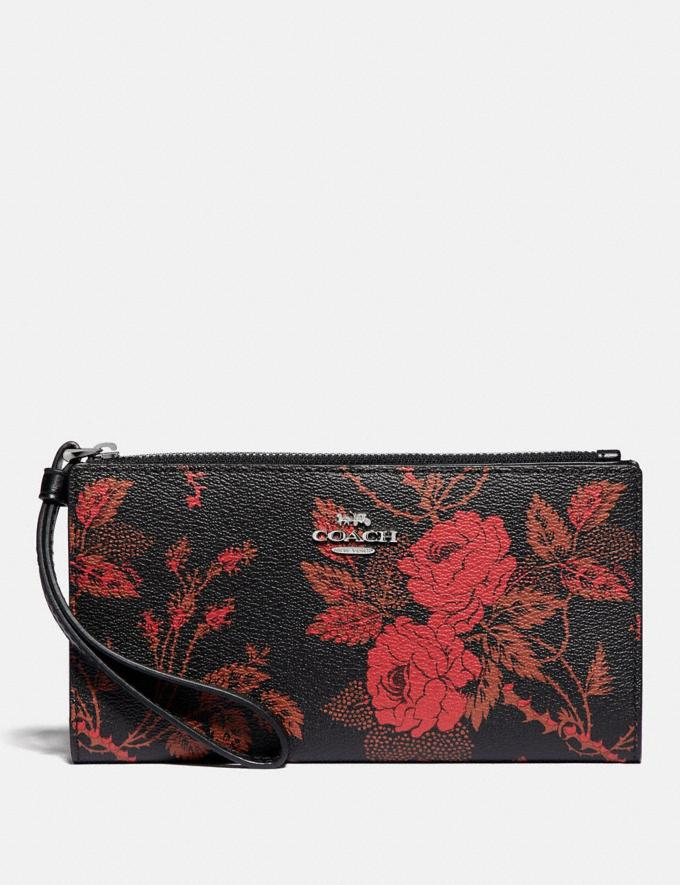 Coach Long Wallet With Thorn Roses Print Black Red Multi/Silver