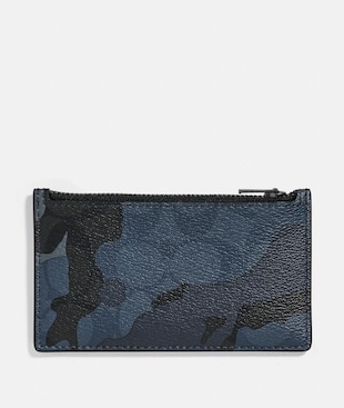 ZIP CARD CASE IN SIGNATURE CANVAS WITH CAMO PRINT