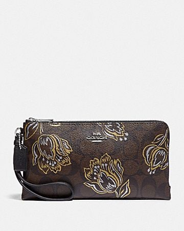 double zip wallet in signature canvas with tulip print