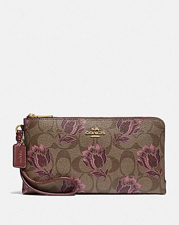 double zip wallet in signature canvas with desert tulip print