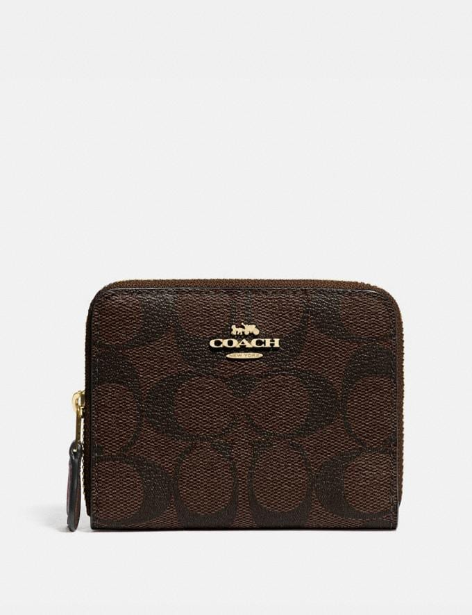 Coach Small Double Zip Around Wallet in Signature Canvas Brown/Black/Gold