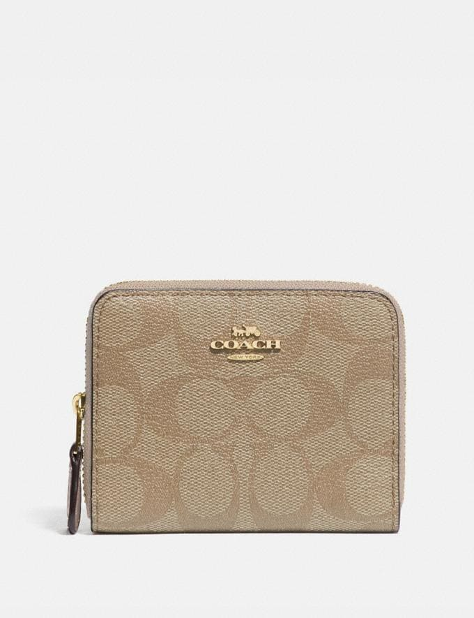 Coach Small Double Zip Around Wallet in Signature Canvas Light Khaki/Chalk/Gold Women Wallets