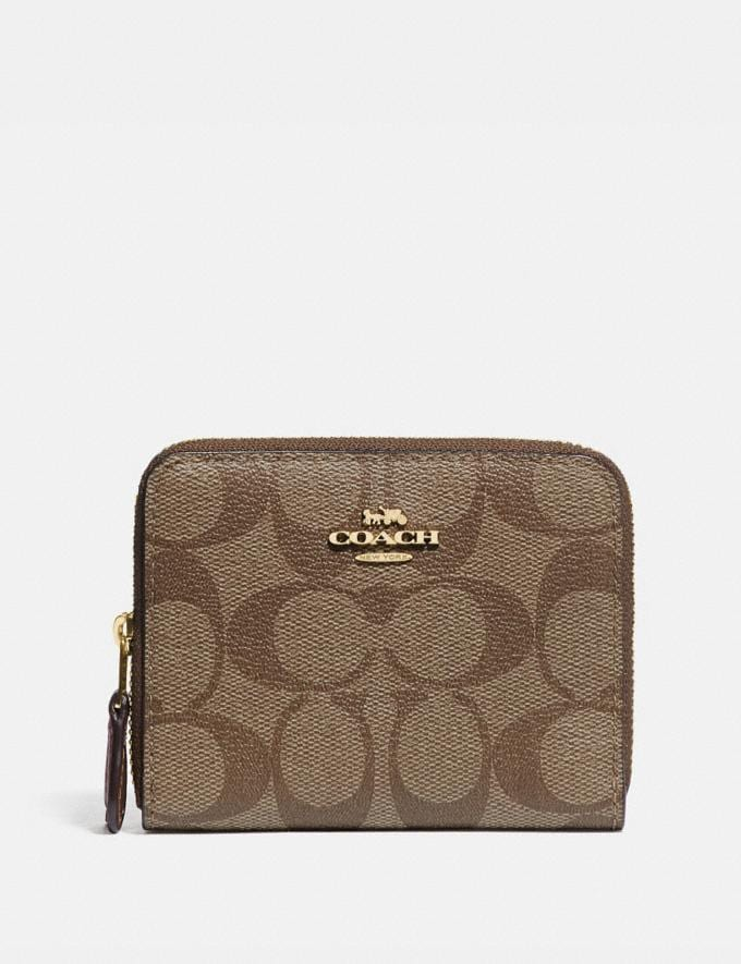 Coach Small Double Zip Around Wallet in Signature Canvas Khaki/Saddle 2/Gold