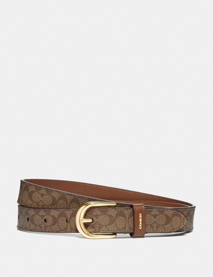 Coach Classic Belt in Signature Canvas Khaki/Saddle/Gold