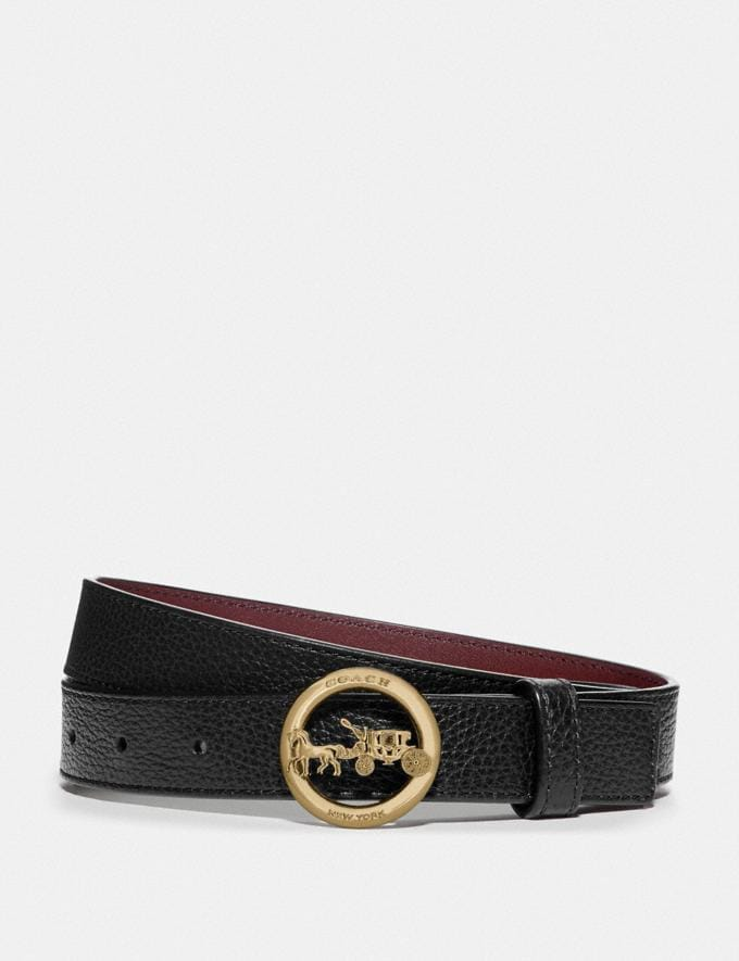 Coach Horse and Carriage Belt Black/Wine