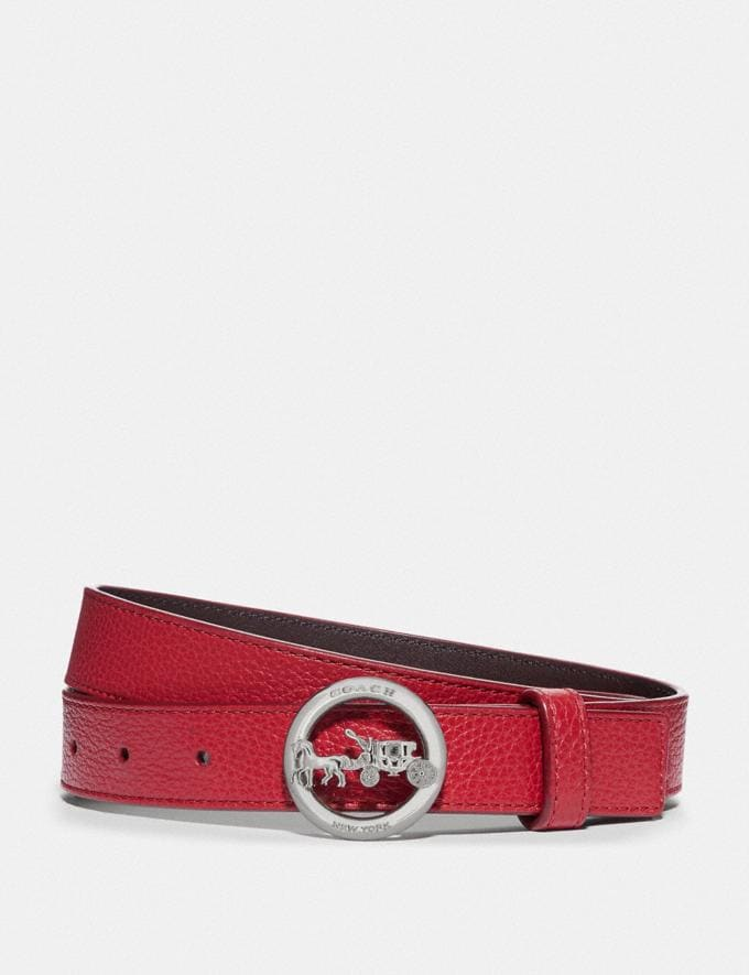 Coach Horse and Carriage Belt True Red/Oxblood/Silver