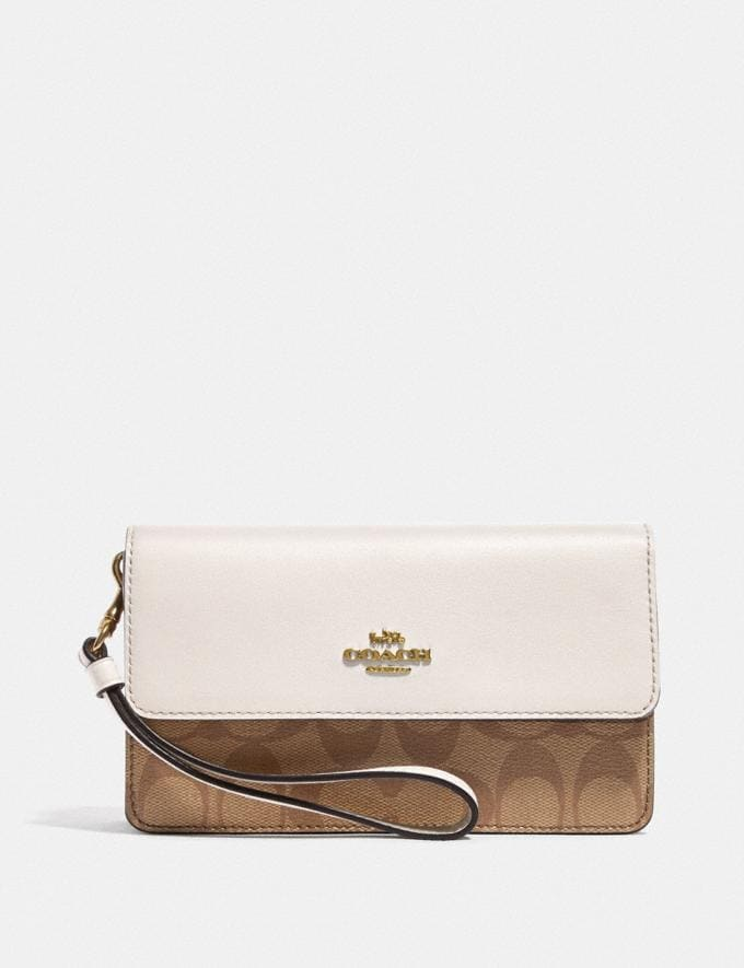 Coach Foldover Wristlet in Signature Canvas Khaki/Chalk/Gold DEFAULT_CATEGORY