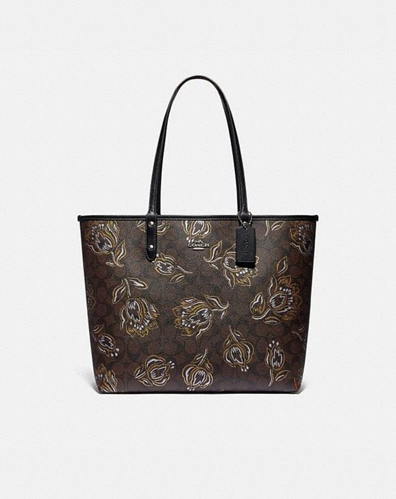 Coach REVERSIBLE CITY TOTE IN SIGNATURE CANVAS WITH TULIP PRINT