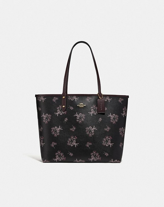 Coach REVERSIBLE CITY TOTE WITH RIBBON BOUQUET PRINT