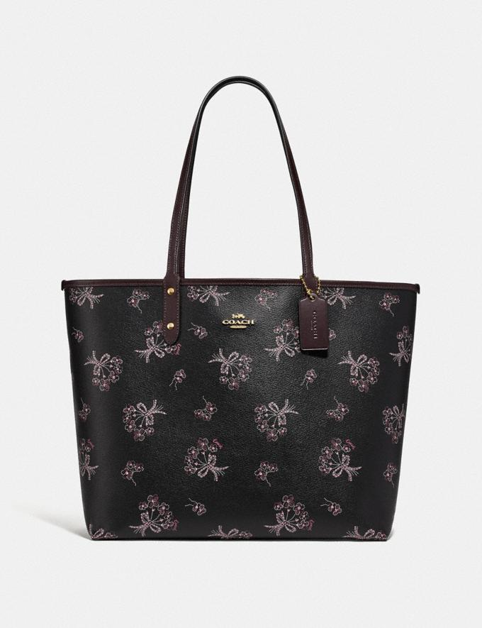 REVERSIBLE CITY TOTE WITH RIBBON BOUQUET PRINT