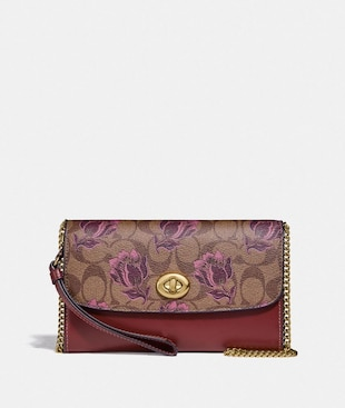 CHAIN CROSSBODY IN SIGNATURE CANVAS WITH DESERT TULIP PRINT