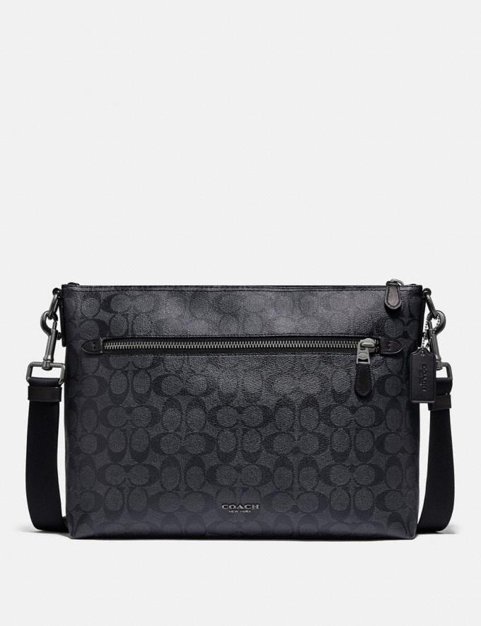 Coach Graham Soft Messenger in Signature Canvas Charcoal/Black/Black Antique Nickel