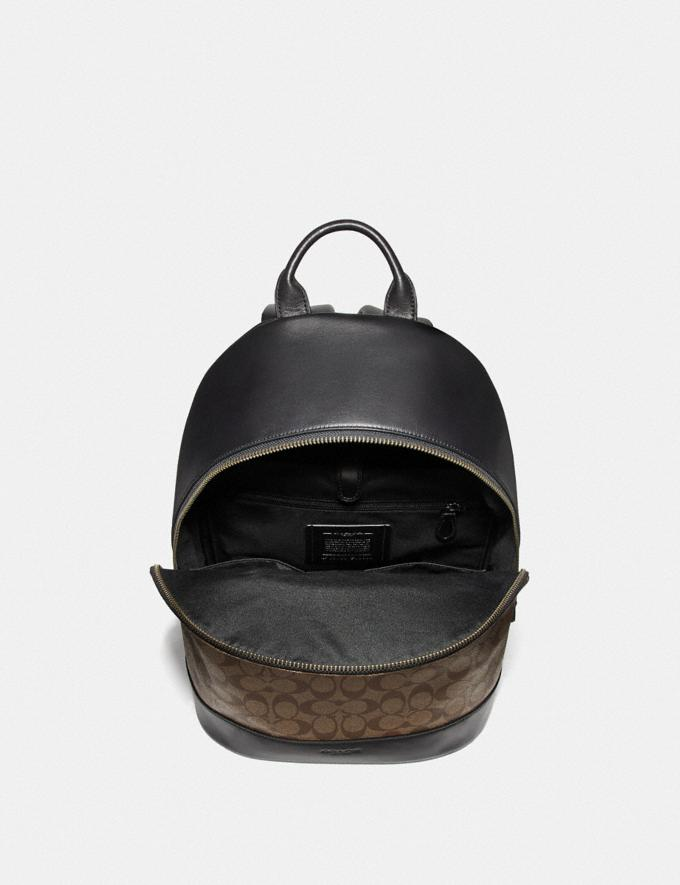 Coach West Slim Backpack in Signature Canvas Tan/Black Antique Nickel Explore Men Explore Men Bags Alternate View 1