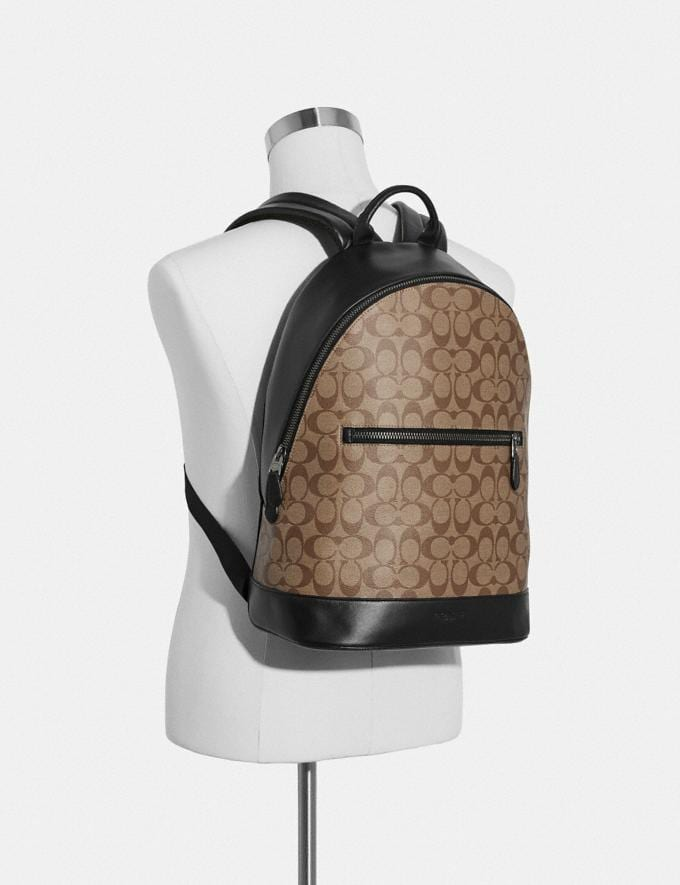 Coach West Slim Backpack in Signature Canvas Tan/Black Antique Nickel Explore Men Explore Men Bags Alternate View 2