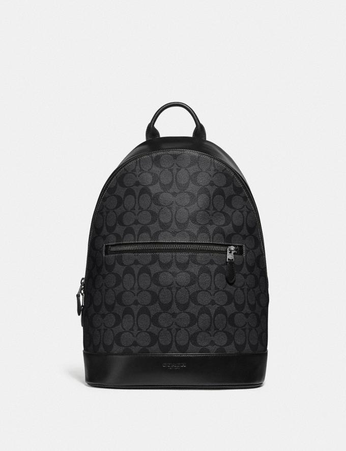 Coach West Slim Backpack in Signature Canvas Charcoal/Black/Black Antique Nickel
