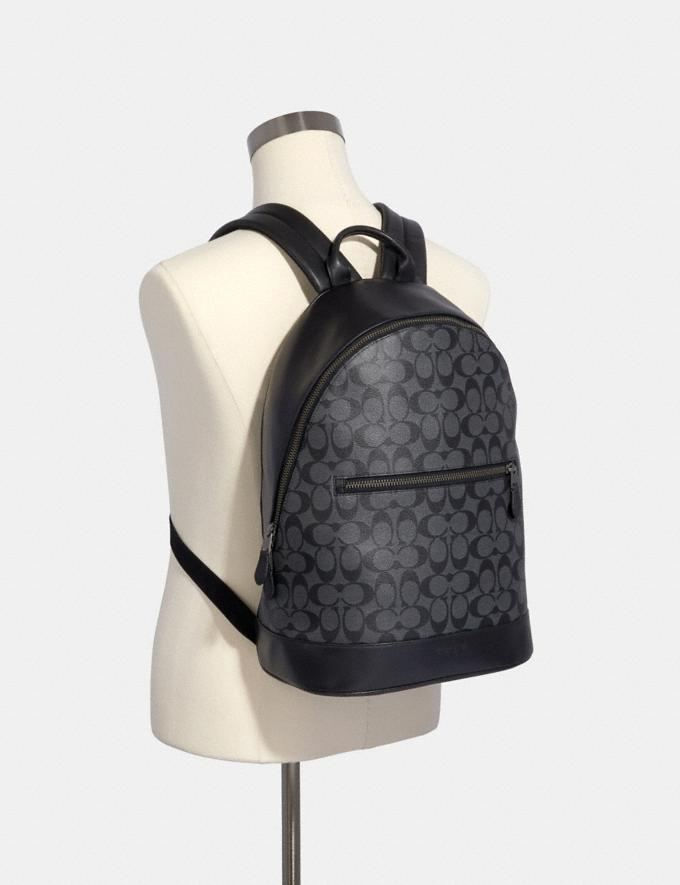 Coach West Slim Backpack in Signature Canvas Charcoal/Black/Black Antique Nickel  Alternate View 2
