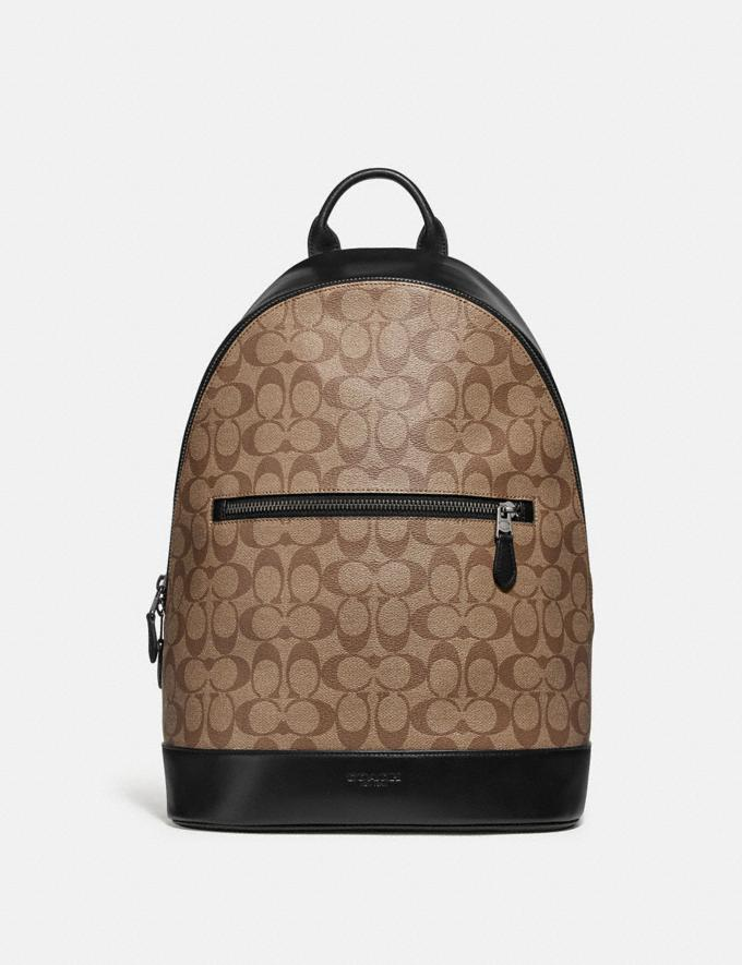 Coach West Slim Backpack in Signature Canvas Tan/Black Antique Nickel Explore Men Explore Men Bags
