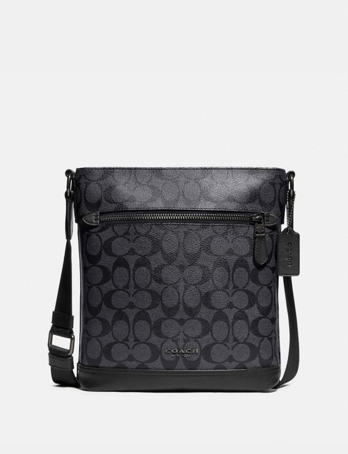 Coach Graham Flat Crossbody in Signature Canvas Charcoal/Black/Black Antique Nickel Explore Men Explore Men Bags