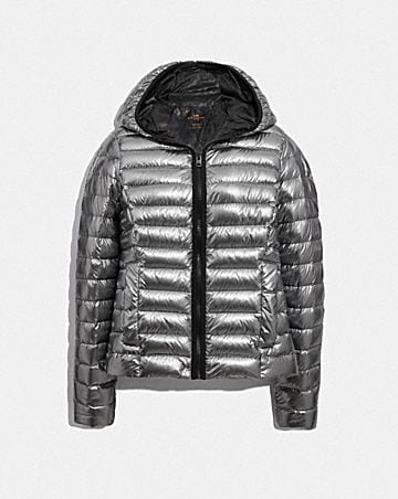 packable metallic down jacket