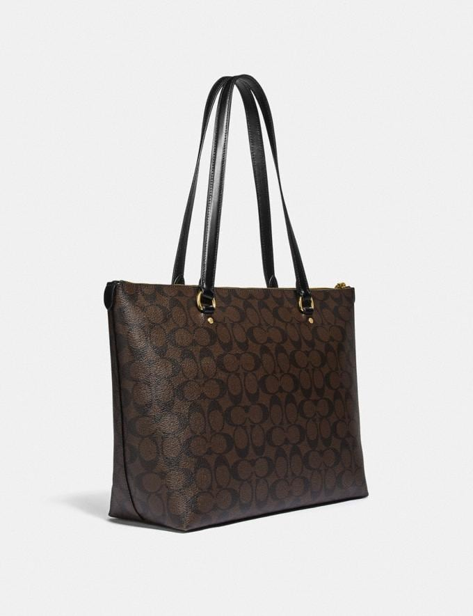 Coach Gallery Tote in Signature Canvas Im/Brown/Black  Alternate View 1