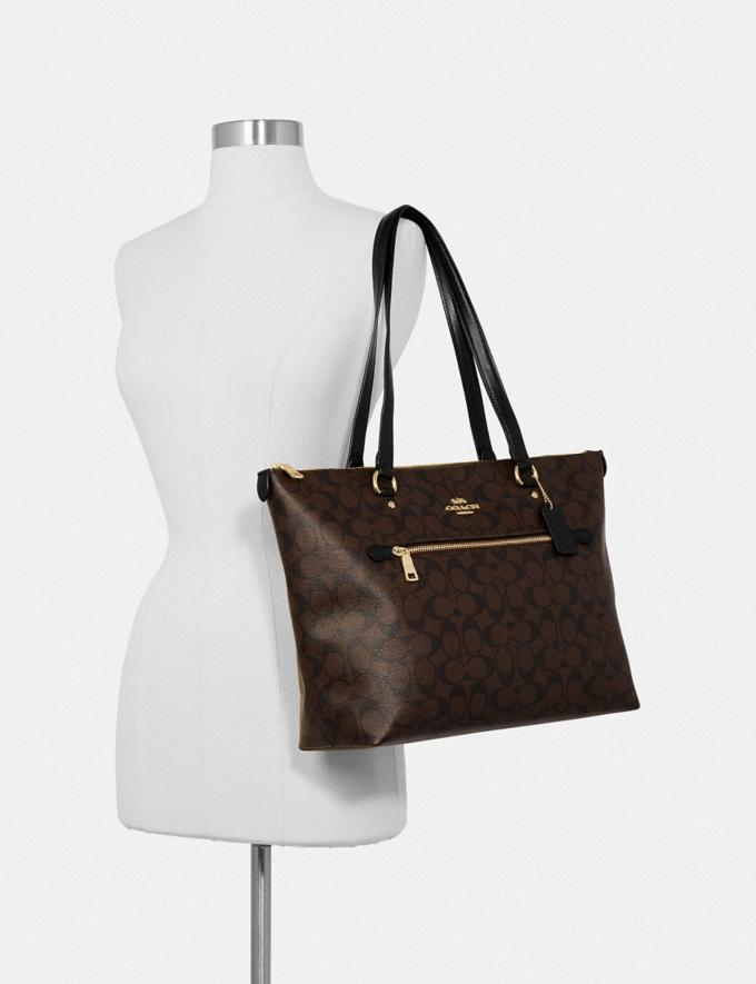 Coach Gallery Tote in Signature Canvas Im/Brown/Black  Alternate View 4