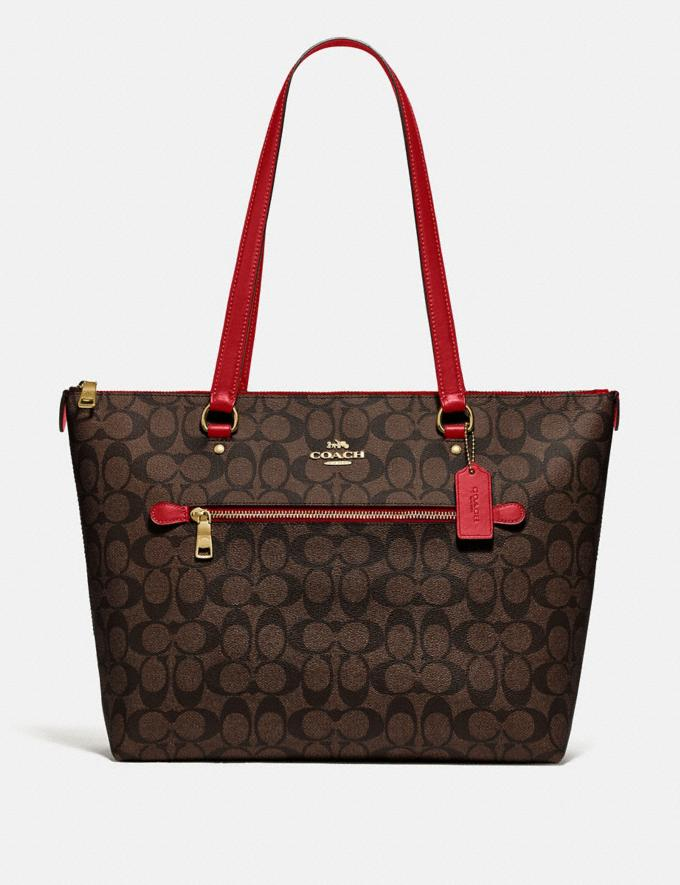 Coach Gallery Tote in Signature Canvas Im/Brown True Red Women Business Essentials
