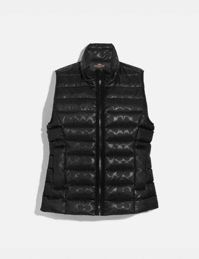 Coach Signature Embossed Short Down Vest Black