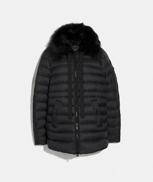 DOWN JACKET WITH SHEARLING COLLAR